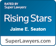"""Super Lawyers badge image for Jaime E. Seaton, which reads: """"Rated By Super Lawyers, Rising Stars, Jaime E. Seaton, SuperLawyers.com"""""""